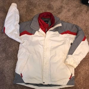 Men's north face hyvent ski jacket! White/red! L